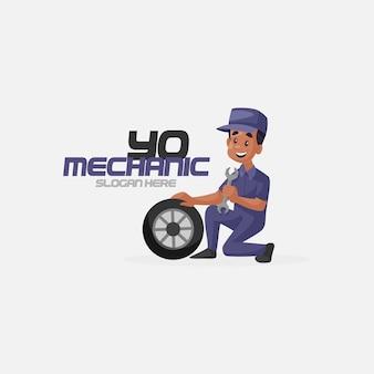 Modèle de logo de mascotte de mécanicien indien