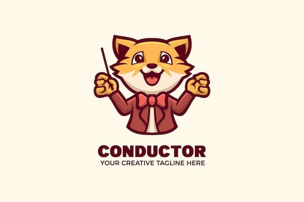 Modèle de logo mascotte mignon chef d'orchestre de tigre
