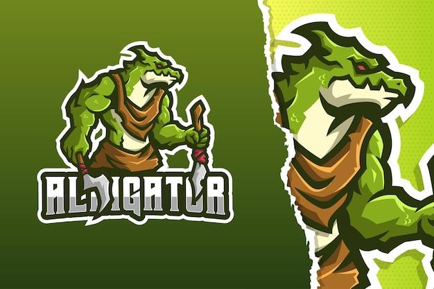 Modèle de logo de mascotte monster alligator