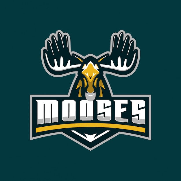 Modèle de logo mascotte mooses