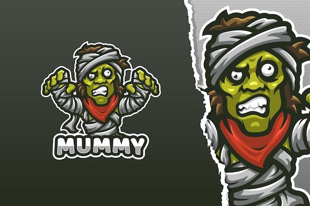Modèle de logo de mascotte mummy zombie