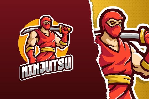 Modèle de logo de mascotte ninja