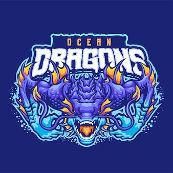 Modèle de logo mascotte ocean dragons