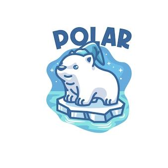 Modèle de logo de mascotte ours polaire