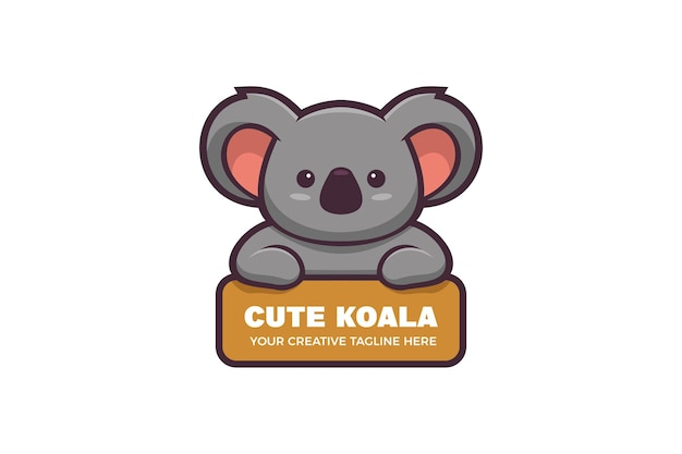 Modèle de logo mascotte personnage koala mignon