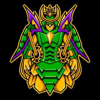 Modèle de logo de mascotte de personnage de ronin