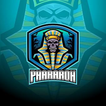 Modèle de logo de mascotte pharaon esport