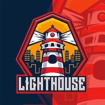 Modèle de logo de mascotte de phare
