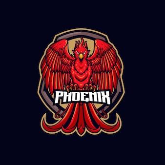 Modèle de logo mascotte phénix brûlant
