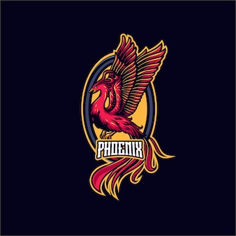 Modèle de logo mascotte phoenix rouge