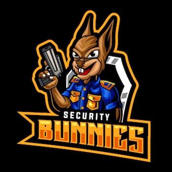 Modèle de logo de mascotte de pistolet de lapins