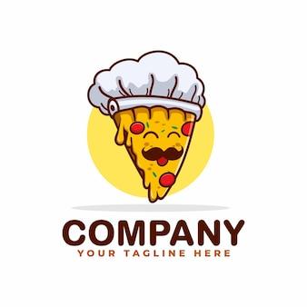 Modèle de logo de mascotte pizza chef
