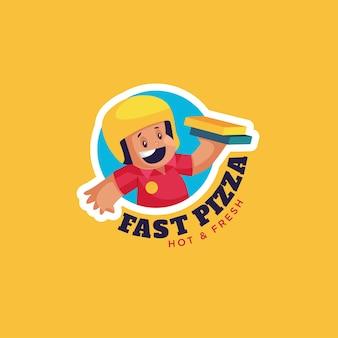 Modèle de logo de mascotte de pizza rapide