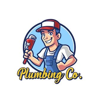 Modèle de logo de mascotte plombier