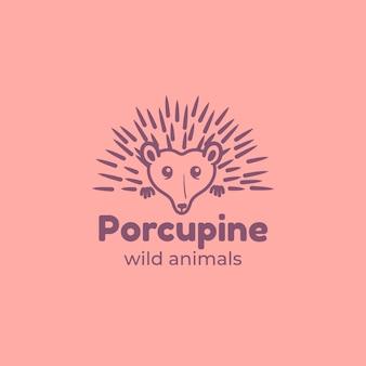 Modèle de logo de mascotte de porc-épic