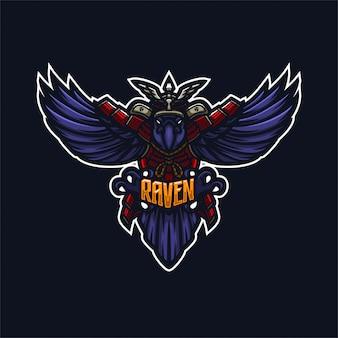 Modèle de logo mascotte premium raven, crow samurai knight