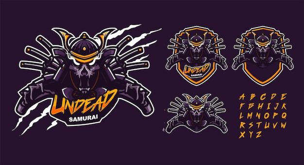 Modèle de logo mascotte premium samouraï morts-vivants