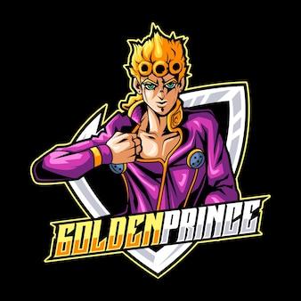Modèle de logo de mascotte de prince d'or