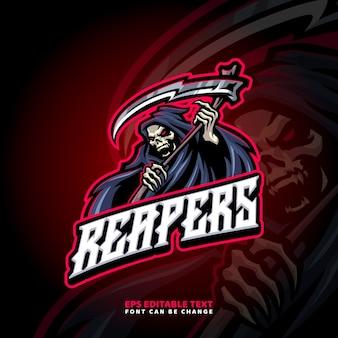 Modèle de logo de mascotte reaper