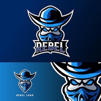 Modèle de logo de mascotte rebelle bandit sport ou esport