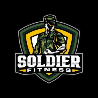 Modèle de logo de mascotte de remise en forme de soldat