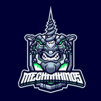 Modèle de logo de mascotte de rhinocéros cyborg