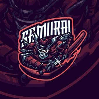 Modèle de logo de mascotte de samouraï