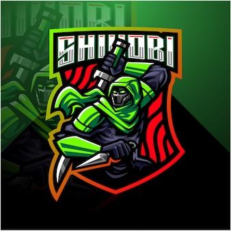 Modèle de logo de mascotte shinobi esport