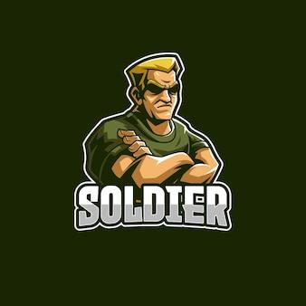 Modèle de logo mascotte soldat e-sports