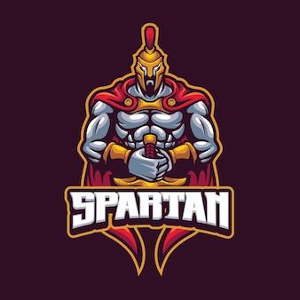 Modèle de logo de mascotte spartiate pour l'équipe de logo d'esport et de sport
