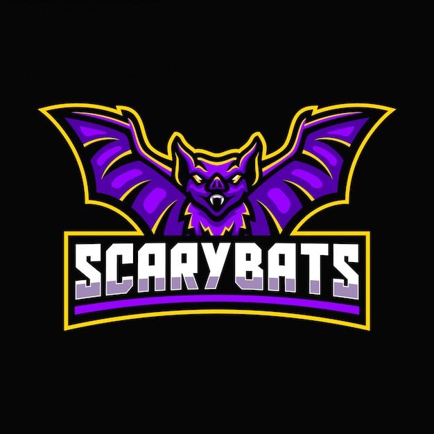 Modèle de logo mascotte sport chauves-souris