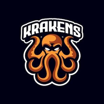 Modèle de logo de mascotte de sport golden octopus