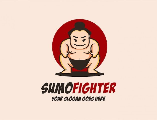 Modèle de logo de mascotte sumo