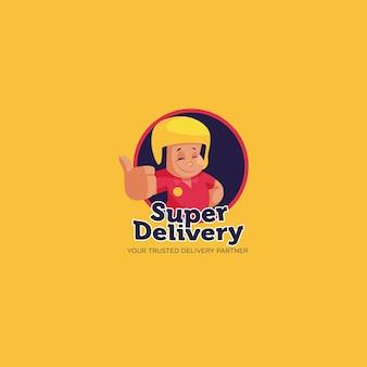 Modèle De Logo De Mascotte De Super Livraison Vecteur Premium