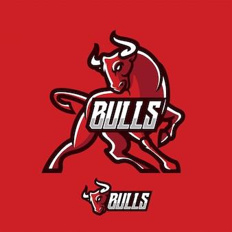 Modèle de logo de mascotte de taureaux ou de buffle