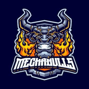 Modèle de logo de mascotte de taureaux cyborg