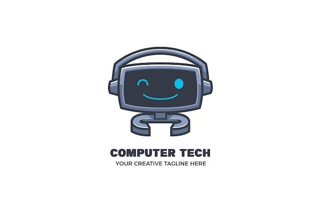 Modèle de logo de mascotte de technologie de robot informatique