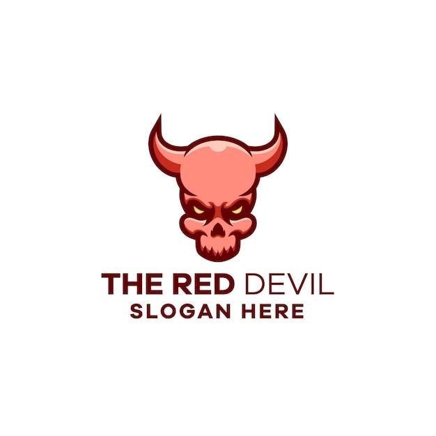 Modèle de logo de mascotte de tête de diable