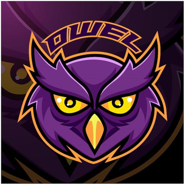Modèle de logo de mascotte de tête de hibou esport