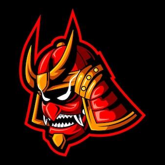 Modèle De Logo De Mascotte Tête De Samouraï Vecteur Premium