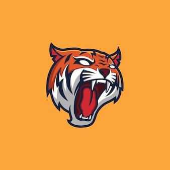 Modèle de logo mascotte tête de tigre