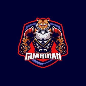 Modèle de logo de mascotte de tigre spartiate