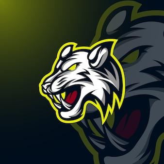 Modèle de logo mascotte tigre