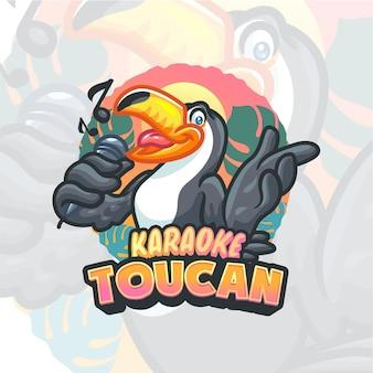 Modèle de logo mascotte toucan cartoon