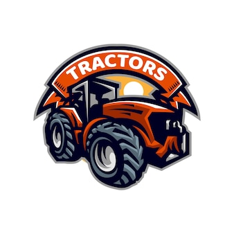 Modèle de logo de mascotte de tracteurs