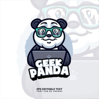 Modèle de logo de mascotte de travail de panda
