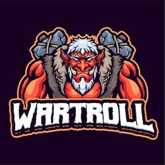 Modèle de logo de mascotte de troll