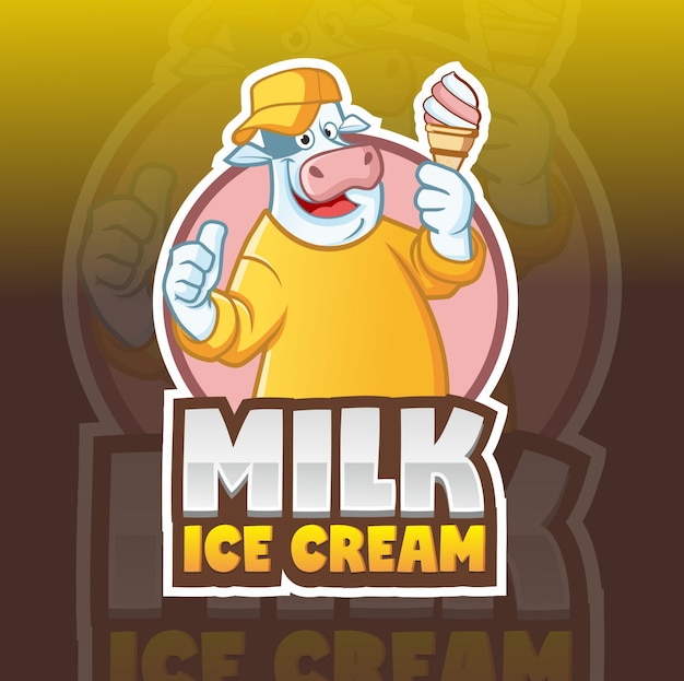 Modèle de logo mascotte vache crème glacée