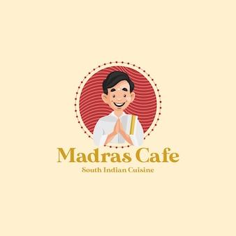 Modèle de logo de mascotte de vecteur de cuisine indienne du sud de café de madras