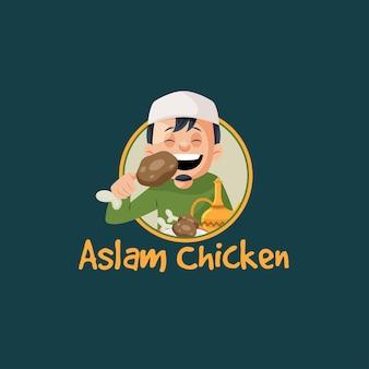Modèle de logo de mascotte de vecteur de poulet aslam